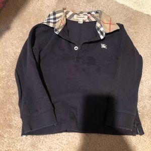 Burberry Navy Polo Long Sleeve Shirt